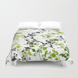 Branches and Leaves in Cobalt Grey and Green Duvet Cover