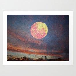 Orange moon and clouds over landscape Art Print