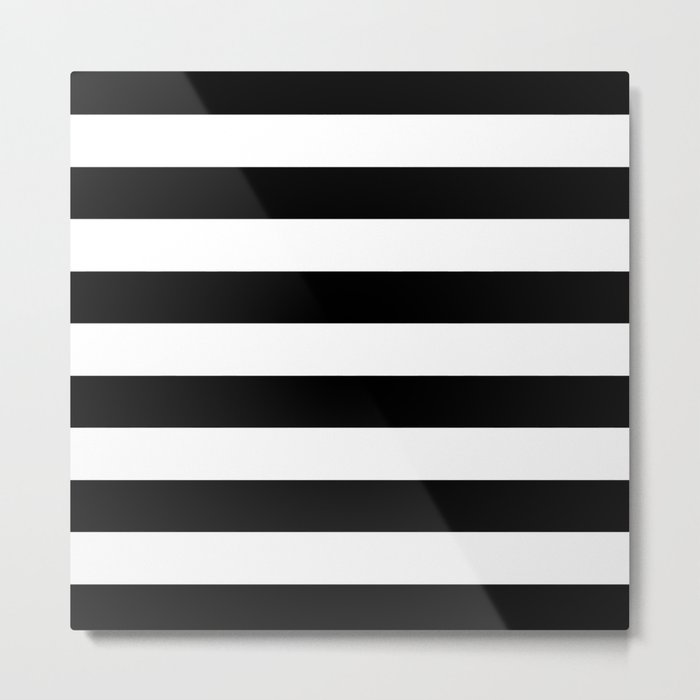 Stripe Black & White Horizontal Metal Print
