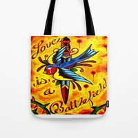 battlefield Tote Bags featuring Love Is A Battlefield by ARMADA Industries