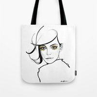golden girls Tote Bags featuring MY GIRLS . GOLDEN EYE LASHES by Camila Giacoia