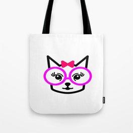 Cute Cat Girl Wearing Glasses Tote Bag