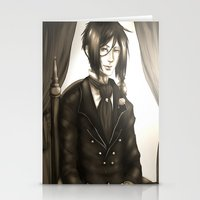 black butler Stationery Cards featuring Sebastian Michaelis - The Watchdog's Butler by Lalasosu2