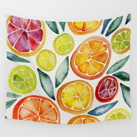 food Wall Tapestries featuring Sliced Citrus Watercolor by Cat Coquillette