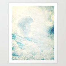 Somewhere | Beautiful Fluffy Clouds  Art Print