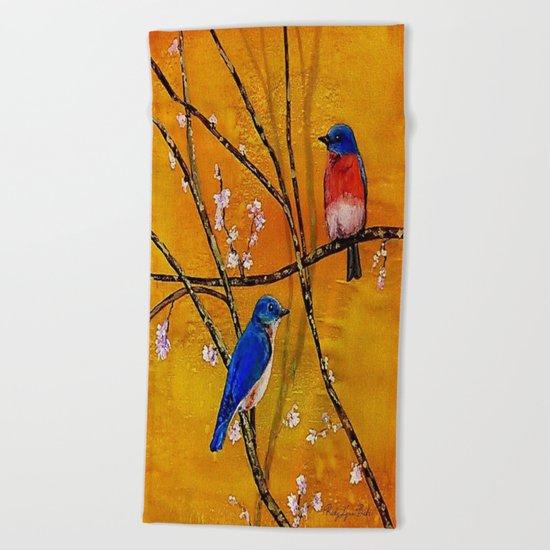 Blue Birds Beach Towel