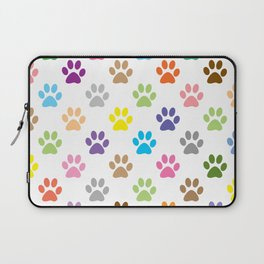 Colorful puppy paw prints pattern Laptop Sleeve
