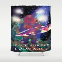 surfing Shower Curtains featuring surfing by jackybong629