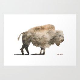 Watercolor Bison Art Print
