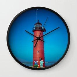 Kenosha North Pier Light Red Lake Michigan Lighthouse Wisconsin Wall Clock