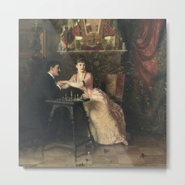 The Proposal Oil Painting by Knut Ekwall Metal Print