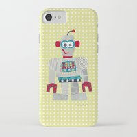 50s iPhone & iPod Cases featuring strumm 50s robot  by blossyfloss