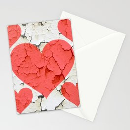 DECORATIVE SHABBY CHIC RED-WHITE FRACTURED VALENTINE HEARTS Stationery Cards