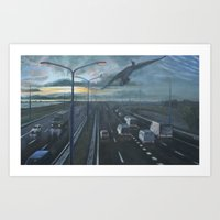 Cormorant above highway Art Print