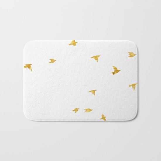 Raven Birds in Gold Cooper Bronze Bath Mat