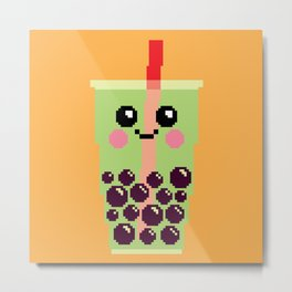 Happy Pixel Bubble Tea Metal Print