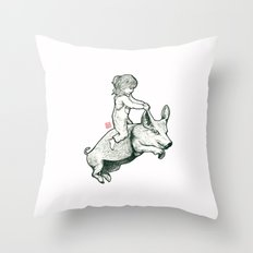Girl on a flying pig Throw Pillow