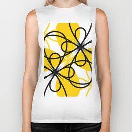 Yellow Black Floral Biker Tank