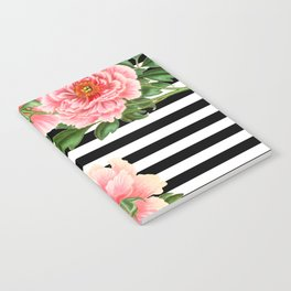 Pink Peonies Black Stripes Notebook