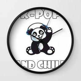 K-Pop and Chill Panda, Korean Panda Kawaii Wall Clock