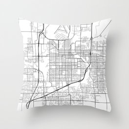 Sioux Falls Map, USA - Black and White Throw Pillow