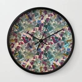 Tiled Parrots and Flora Pattern Wall Clock