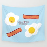 friendship Wall Tapestries featuring Eggs & Bacon Friendship by Juliana Motzko