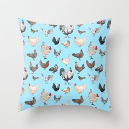 Chicken Happy (blue) Throw Pillow