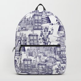 Doctor Who Toile de Jouy | 'Walking Doodle' | Blue Backpack