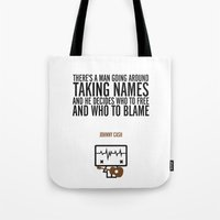 johnny cash Tote Bags featuring Johnny Cash by the curious brain