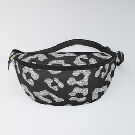 Glitter Leopard Print in Black Fanny Pack
