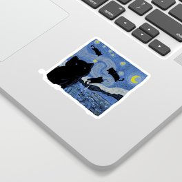 The Starry Cat Night Sticker