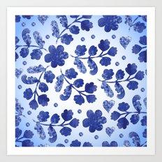 Beautiful vintage watercolor pattern with flowers Art Print