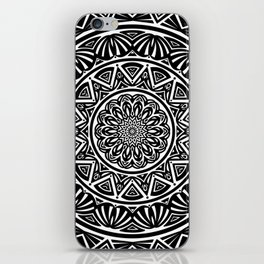 Black and White Simple Simplistic Mandala Design Ethnic Tribal Pattern iPhone Skin