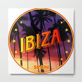 Ibiza, summer sunset, circle Metal Print