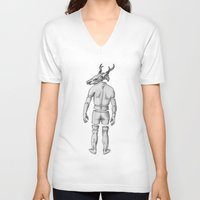 antler V-neck T-shirts featuring Mr Antler by Tim Van Den Eynde