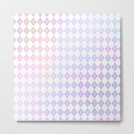 Geometrical pink violet white watercolor abstract diamonds Metal Print