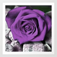 Cork with Purple Rose Art Print