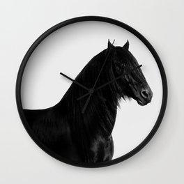 Black beauty Friesian stallion Wall Clock