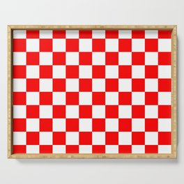 Checkered (Classic Red & White Pattern) Serving Tray