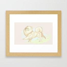 Prancing Pomeranian Framed Art Print