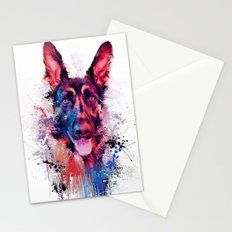 Drippy Jazzy German Shepherd Colorful Dog Art by Jai Johnson Stationery Cards