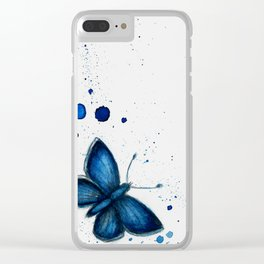 Blue butterfly Clear iPhone Case