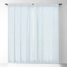 Baby Blue Gingham Check Blackout Curtain