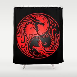 Yin Yang Dragons Red and Black Shower Curtain