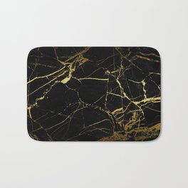 Black-Gold Marble Impress Bath Mat