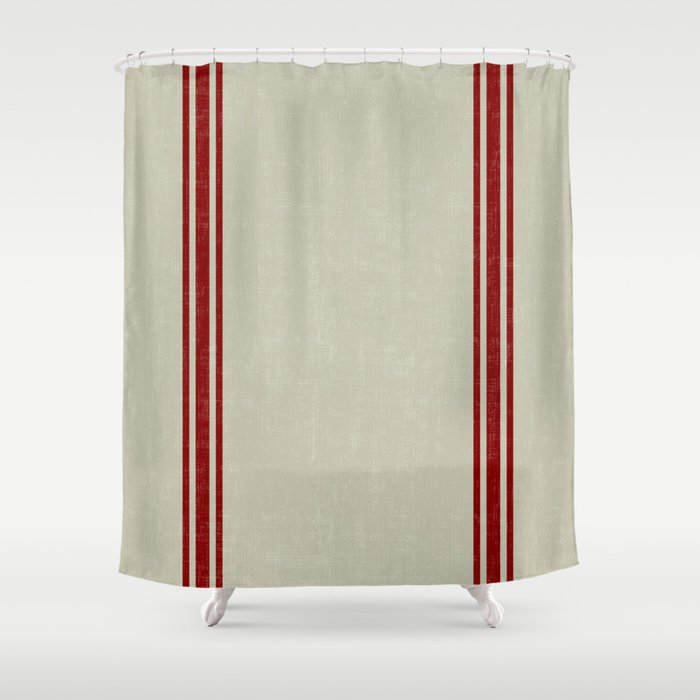 Vintage French Country Grainsack Berry Linen Shower Curtain