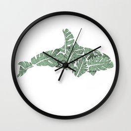 Monstera Whale Wall Clock