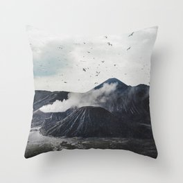 Birds Over Mount Bromo, Indonesia Throw Pillow