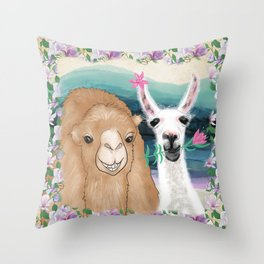Llama bride and camel groom wedding photo art Throw Pillow